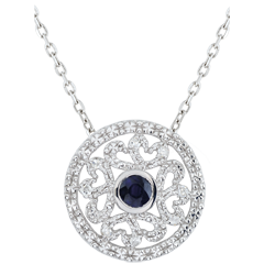 Pendentif or blanc Kiona - diamants et saphir