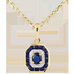 Pendentif Oriade - Saphirs - or jaune 9 carats