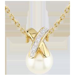 Pendentif Perle croisée - or jaune 9 carats