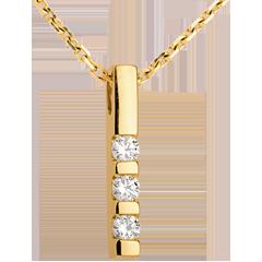 Pendentif trilogie or jaune - 0.22 carat - 3 diamants
