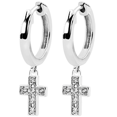 Pendientes Abundancia - Cruz de diamantes - oro blanco de 9 quilates y diamantes