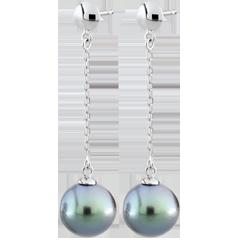 Pendientes Amura - oro blanco 9 quilates y perla
