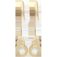 Pendientes Bastón anacarados - perlas - oro amarillo 9 quilates