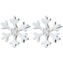 Pendientes Copo de Nieve - oro blanco 9 quilates
