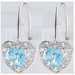 Pendientes Corazón Encantado - oro blanco 9 quilates y topacio azul