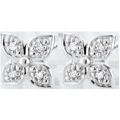 Pendientes Flor de Eternidad - oro blanco 9 quilates y 8 diamantes