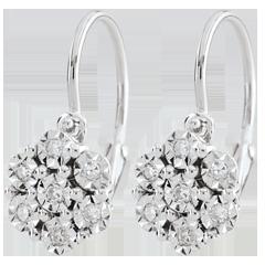 Pendientes Frescura - Flor de Copo de Nieve - 14 diamantes y oro blanco 9 quilates
