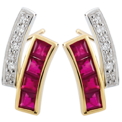 Pendientes Kiona - oro blanco y oro amarillo 9 quilates - rubíes y diamantes
