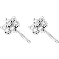 Pendientes Lotus - oro blanco empedrados 18 quilates y diamantes
