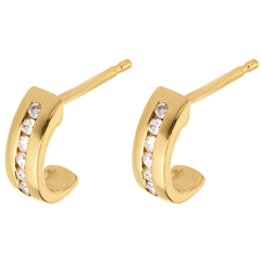 Pendientes media lunas empedrados - oro amarillo - 12 diamantes