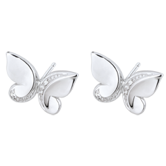 Pendientes Paseo Soñado - dormilonas Mariposa Cascada - oro blanco 9 quilates y diamantes
