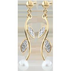 Pendientes Verano Nacarado - perlas - oro blanco y oro amarillo 9 quilates
