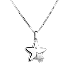 Pereche de stele - model mare - aur alb de 18K