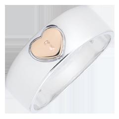 Pierścionek Drogocenny Sekret - Serce - złoto białe i złoto różowe 9-karatowe