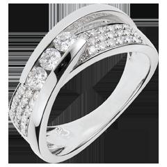 Pierścionek Feeria - Pierścionek Linoskoczek z białego złota 18-karatowego wysadzany diamentami - 0,62 karata - 45 diamentów