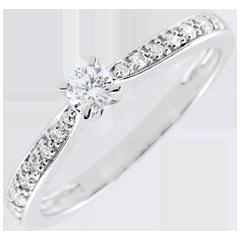 Pierścionek Garlane z jednym diamentem oprawionym w 4 krapy - 0,10 karata - złoto białe 18-karatowe