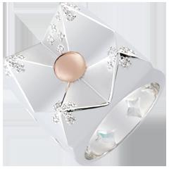 Pierścionek Geneza - Kryształowa Góra - złoto białe i złoto różowe 18-karatowe