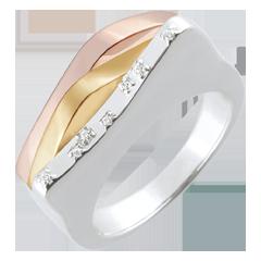Pierścionek Geneza - Pierwotne linie - trzy rodzaje złota 18-karatowego
