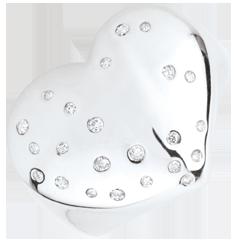 Pierścionek Gwiezdne Serce - Srebro i diamenty