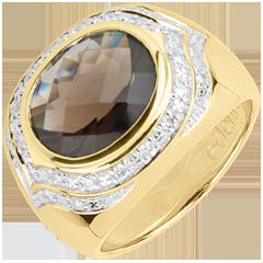 Pierścionek Horus z kwarcem dymnym - Srebro, diamenty i kamienie ozdobne