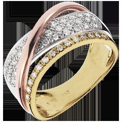 Pierścionek Królewski Saturn - trzy rodzaje złota 18-karatowego