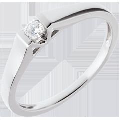 Pierścionek w kształcie łuku z białego złota 18-karatowego z jednym diamentem