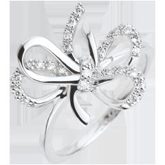 Pierścionek w kształcie węzła Szaleństwo - Srebro i diamenty