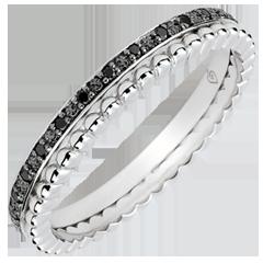 Pierścionek Kwiat Solny - podwójny rząd - czarne diamenty - złoto białe 9-karatowe