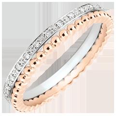 Pierścionek Kwiat Solny - podwójny rząd - diamenty - różowe i białe złoto 9-karatowe