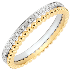 Pierścionek Kwiat Solny - podwójny rząd - diamenty,żółte i białe złoto 9-karatowe