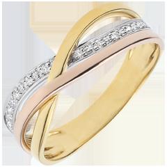 Pierścionek Mały Saturn - trzy rodzaje złota i diamenty - trzy rodzaje złota 9-karatowego