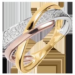 Pierścionek Mały Saturn wariacja 2 - trzy rodzaje złota - trzy rodzaje złota 18-karatowego