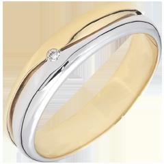 Pierścionek Miłość - Obrączka męska z białego i żółtego złota 18-karatowego - diament 0,022 karata