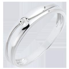 Pierścionek Miłość - złoto białe 18-karatowe - diament 0,022 karata