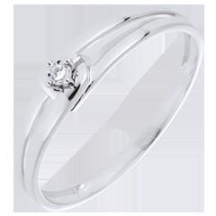Pierścionek Modernity z białego złota 9-karatowego z diamentem - diament 0,01 karata