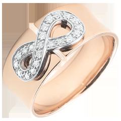 Pierścionek Nieskończoność - złoto różowe 9-karatowe i diamenty