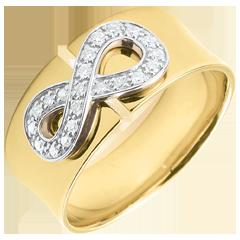 Pierścionek Nieskończoność - złoto żółte 9-karatowe i diamenty