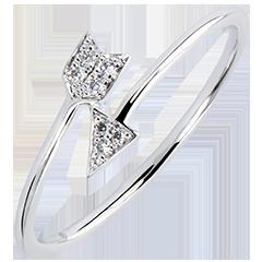 Pierścionek Obfitość – Kupidyn – białe złoto 9-karatowe z diamentami