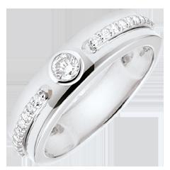 Pierścionek Obietnica z jednym diamentem - złoto białe 18-karatowe i diamenty