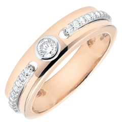 Pierścionek Obietnica z jednym diamentem - złoto różowe 9-karatowe i diamenty