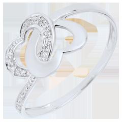Pierścionek Połączone Serca z białego złota 18-karatowego