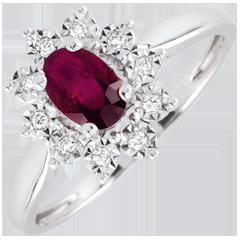 Pierścionek Ponadczasowa Szarotka - Margerytka Iluzja - rubiny i diamenty - złoto białe 18-karatowe