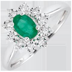 Pierścionek Ponadczasowa Szarotka - Margerytka Iluzja - szmaragd i diamenty - złoto białe 9-karatowe