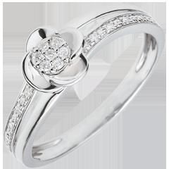 Pierścionek Rozkwit - Płatki Róży - 0,075 karata - złoto białe 18-karatowe