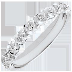 Pierścionek Rozkwit - Różana Korona - Mały model - złoto białe 18-karatowe i diamenty