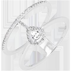 Pierścionek Seraphine - 9-karatowe białe złoto wysadzane diamentami