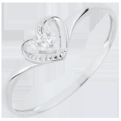 Pierścionek Serce Miłości z jednym diamentem - złoto białe 18-karatowe
