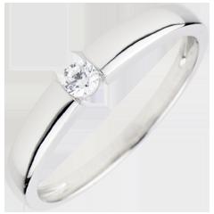 Pierścionek Skarb z jednym diamentem 0,1 karata - złoto białe 18-karatowe