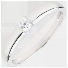 Pierścionek Skarb z jednym diamentem 0,1 karata - złoto białe 9-karatowe