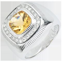 Pierścionek Słoneczne Oko - Srebro, diamenty i kamienie ozdobne